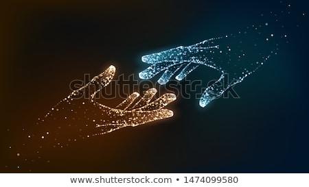 Kék narancs részecskék keret technológia absztrakt Stock fotó © SArts