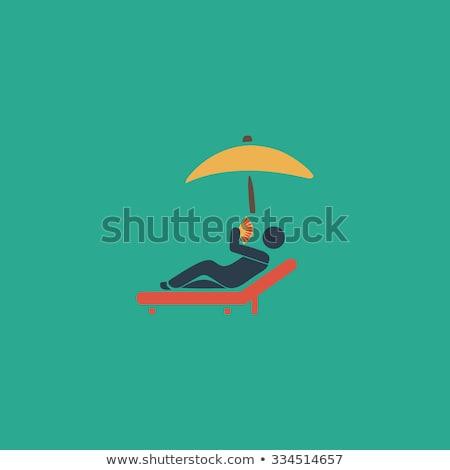 Espreguiçadeira praia ilustração 3d azul água Foto stock © montego
