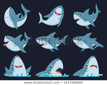 Cartoon sharks. Scary jaws and swimming angry ocean sharks. Big dangerous marine predators. Vector i Stock photo © designer_things