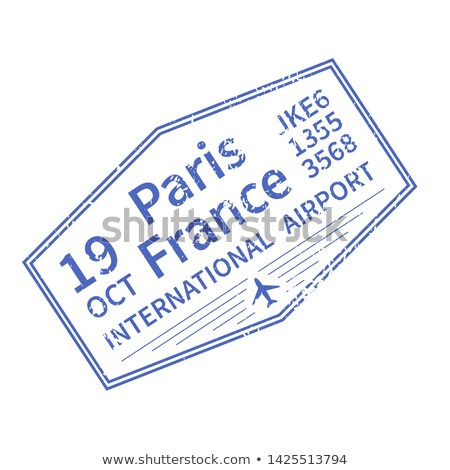 Paris International travel visa stamp on white. Arrival sign purple rubber stamp with texture Stock photo © evgeny89