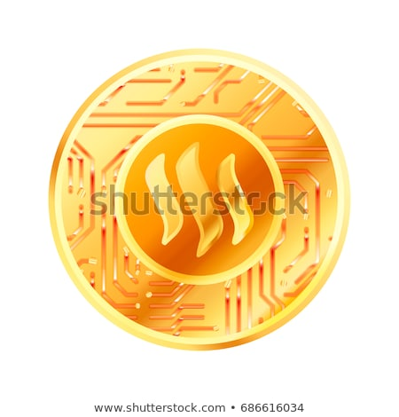 Bright golden coin with microchip pattern and Steemit sign. Cryptocurrency concept on white Stock photo © evgeny89