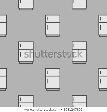 Grey Refrigerator icon - seamless pattern on grey background Stock photo © natali_brill