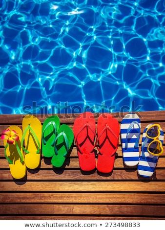 Renkli yüzme havuzu çizgili su aile Stok fotoğraf © ivonnewierink