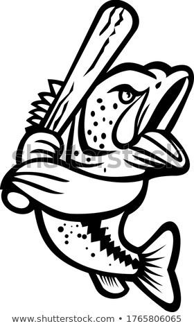 Bas kij baseballowy maskotka czarno białe ilustracja strona Zdjęcia stock © patrimonio