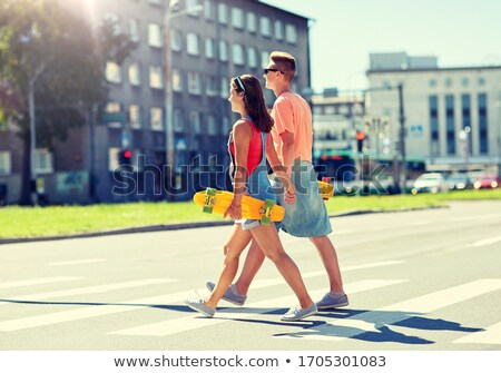 Deskorolka miasta przejście dla pieszych lata Zdjęcia stock © dolgachov