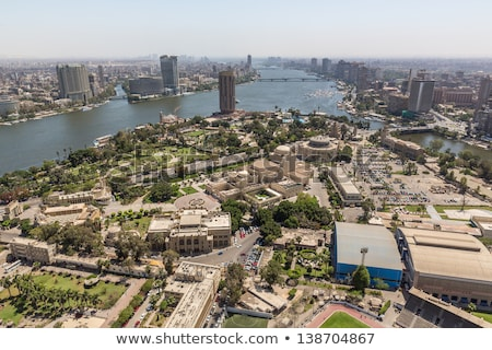 Cairo aerial view with Nile river Stock photo © prill