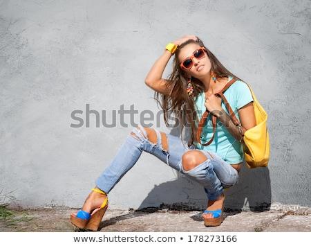 девушки · позируют · Открытый · желтый · стены · индийской - Сток-фото © absoluteindia