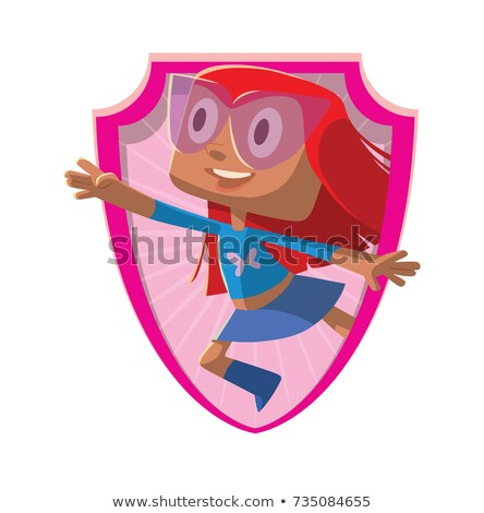 flying pink cute superhero girl isolated on white stock photo © lordalea