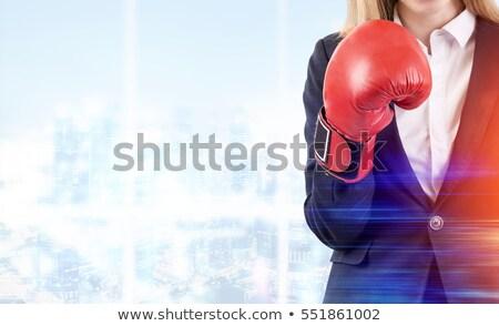 деловая женщина боксерская перчатка бизнеса женщины костюм красный Сток-фото © photography33