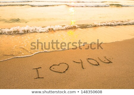 愛 · 碑文 · 砂 · 書かれた · ビーチ · 水 - ストックフォト © Gertje