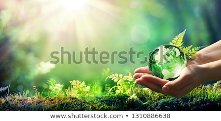 Stockfoto: Earth In Hands Glass World