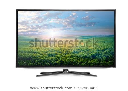 lcd · tv · monitor · azul · isolado · branco - foto stock © ozaiachin