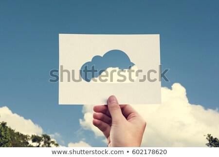 ストックフォト: 手 · 雲 · 球 · にログイン