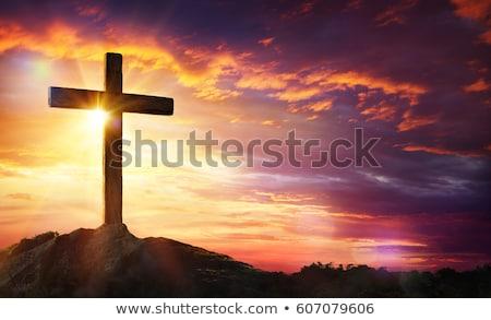 Zonsondergang kruis visie achtergrond zon hemel Stockfoto © Sportlibrary