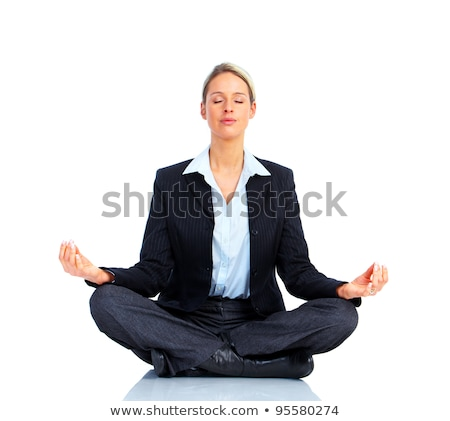 Photo stock: Femme · d'affaires · yoga · isolé · blanche · affaires · bureau