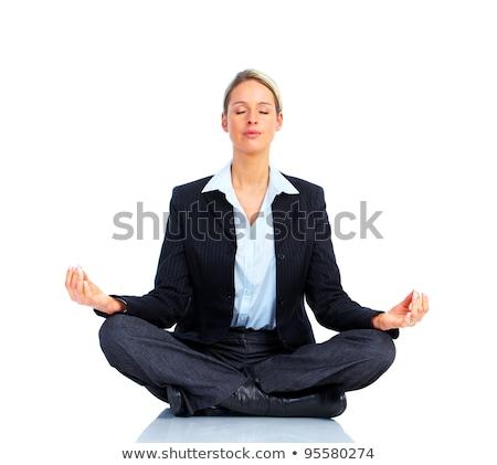 Mujer de negocios yoga aislado blanco negocios oficina Foto stock © Kurhan