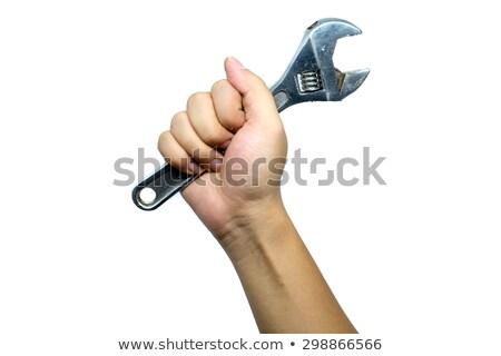 человека регулируемый гаечный ключ завода промышленных Сток-фото © photography33