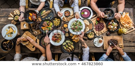 Tablo bulaşık farklı marka yeni restoran Stok fotoğraf © fiphoto