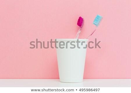 creme · dental · casal · limpar · rosa · fresco · juntos - foto stock © marylooo