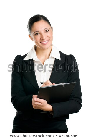 Brunette holding clipboard and pen Stock photo © photography33
