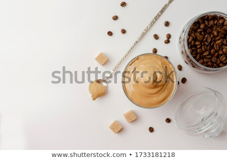 Granos de café gafas blanco textura salud beber Foto stock © happydancing