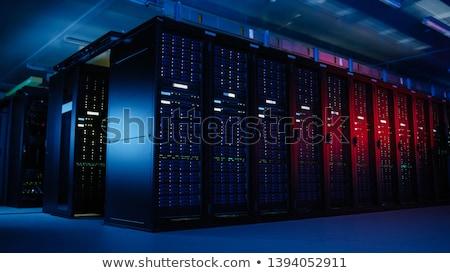 Szerver szerver rack fél nyitott ajtó hálózat ipar Stock fotó © JohanH