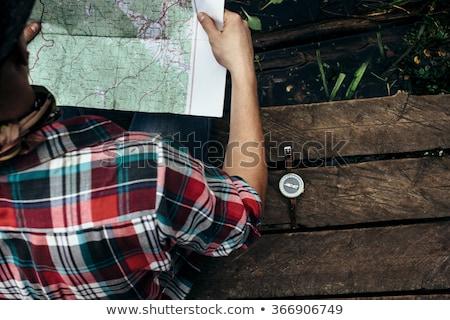 пеший турист карта компас природы пространстве молодые Сток-фото © photography33