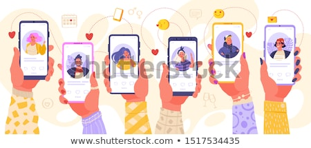 Namoro ilustração casal mulher edifício feliz Foto stock © rudall30