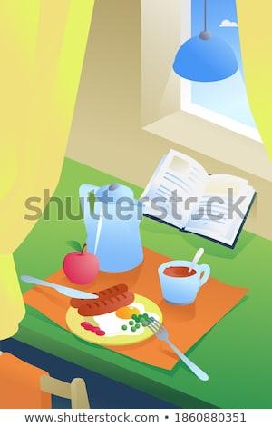illusztrált · csésze · tojás · ital · karácsony - stock fotó © komodoempire