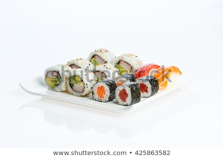 Gustoso preparato greggio sushi birra bacchette Foto d'archivio © cr8tivguy