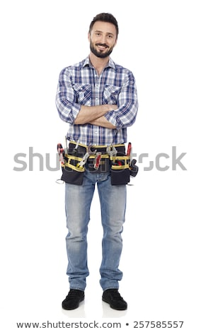 Carpenter Isolated On White Looking Relaxed ストックフォト © goir