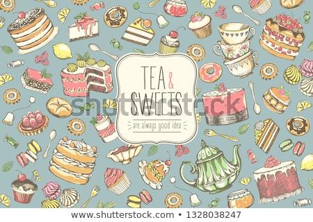teapot and pastry Stock photo © M-studio
