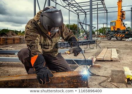 Hegesztő fa építkezés szerszámok dolgozik portré Stock fotó © photography33