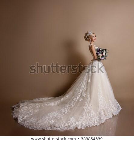 belo · jovem · noiva · vestir · posando - foto stock © gromovataya