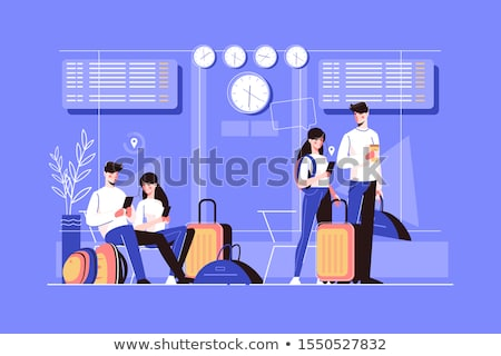 Seated Woman with suitcases Stock photo © photography33