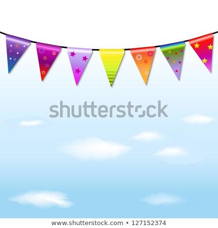 Arco-íris bandeira grinalda isolado branco nuvens Foto stock © adamson