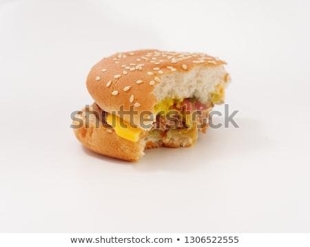 Burger vue isolé blanche fond Photo stock © Mikko
