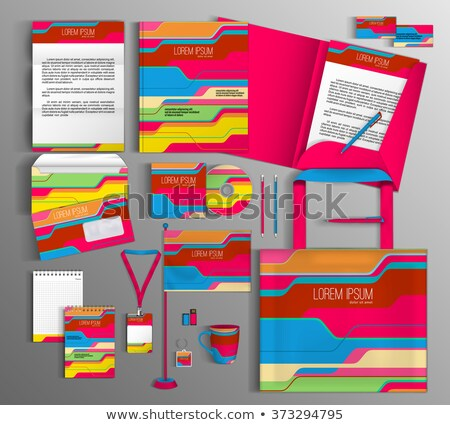 abstract rainbow corporate id template Stock photo © pathakdesigner