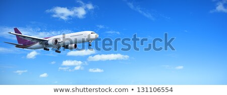 Jet in a sky. Panorama with a lot of useful copy-space. Stock photo © moses