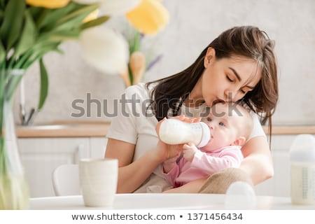 bebek · şişe · emzik · süt · yalıtılmış · beyaz - stok fotoğraf © karandaev