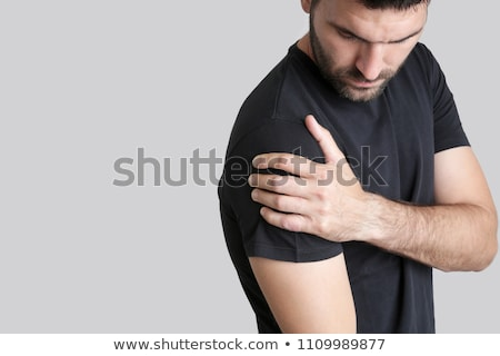 Foto stock: Close Up Of Shirtless Man With Shoulder Pain
