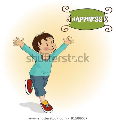 happy little boy who runs Stock photo © balasoiu