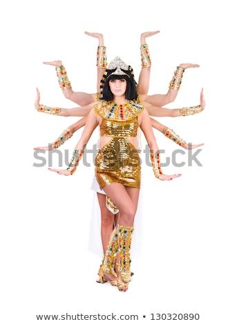 Dancing pharaoh woman wearing a egyptian costume. Stock photo © stepstock