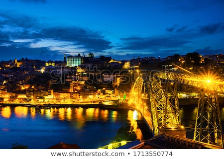 old town river area of porto in portugal at night Stock photo © travelphotography