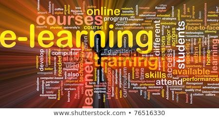 Online oktatás szófelhő szó piros szín felhő Stock fotó © tashatuvango