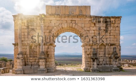 North side of the Arch of Caracalla at Volubilis Stock photo © Hofmeester