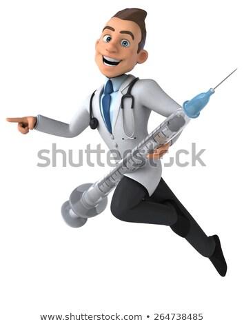 3D · doktor · şırınga · ayakta · beyaz - stok fotoğraf © kirill_m