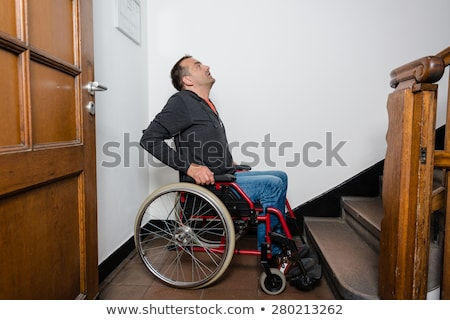 Wheelchair Person Facing Obstacle of Stairs Stock photo © iqoncept