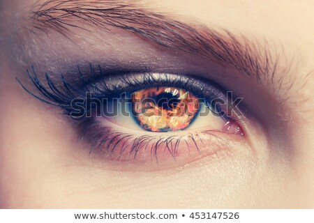 Detail view of female eyes with flames Stock photo © michaklootwijk