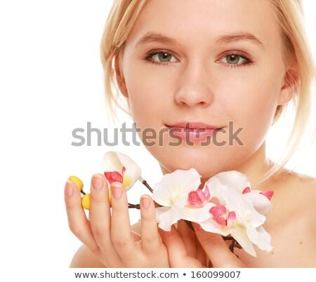 loiro · menina · abstrato · azul · mulher · feliz - foto stock © nejron